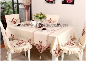 china embroidery table cloth of big custom design square polyester