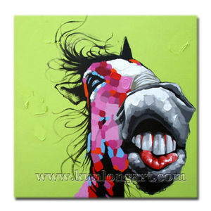 Popular Wall Art Cartoon Oil Painting Of Smiling Donkey KLCP 0028