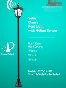 Solar Glassy Post Light with Motion Sensor pictures & photos