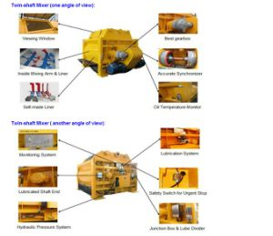 Twin Horizontal Shaft 150~180m3/H Productiviy Js3000 Forced Concrete Mixer pictures & photos