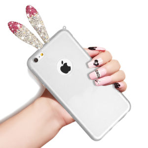 sports shoes ad011 88e39 Creative Transparent Rabbit Ears Back Mirror Case for iPhone 6/6plus