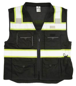 Safety Vest, Black with Lime Yellow and Silver Reflective, Direct Factory, Cheap Prices pictures & photos