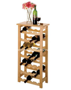 China Durable 28 Bottle Floor Standing Solid Wooden Wine Rack