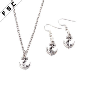 Factory Wholesale Zinc Alloy Anchor Unisex Jewelry Sets