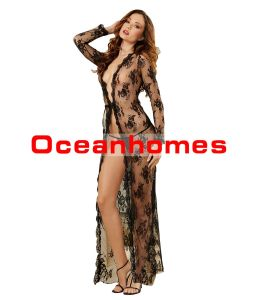00c290a07d5464 China Oceanhomes Sexy Black Lace Lingerie Sleepwear for Women Long Robe for  Party with G-String Set - China Woman Sexy Lingerie, Lace Lingerie