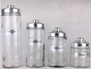 Glass Canister Jars for Pasta Coffee Sugar Tea