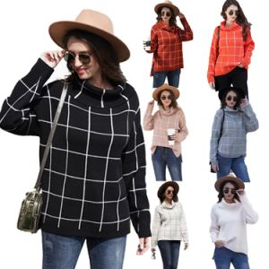 Winter Ladies Sweater Turtleneck Loose Plaid Sweaters Women Turtleneck Sweater Knitted