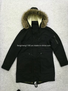 Man High Quality Washing Cotton Coat with Fur Hoody S11