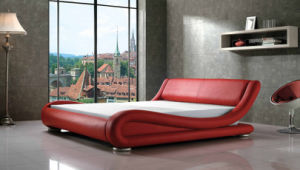 2016 Red Leather Arc King Size Bed for Home (LB-039)