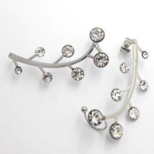 china simple leaf design ear stud wedding white gold earring