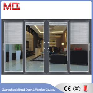 Aluminum Sliding Door with Blinds Insert Double Glass