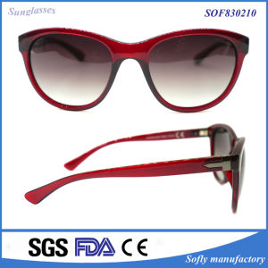 Plastic Ladies Flat Mirror Fashion Sunglasses with PC Injection