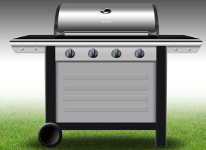 Gas Grill Folding Side Shelves 4burners BBQ