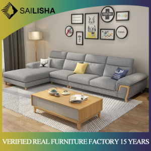 Modern Design Living Room Sofa Furniture L Shaped Fabric Sectional Sofa  Simple Style Corner Couch