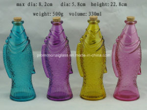 Fish Shaped Colored Glass Bottle with Cork