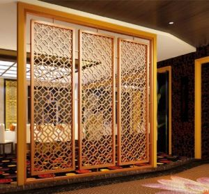 Rose Gold Decorative Room Dividers Stainless Steel Laser Cut Sheet Screen  Partition