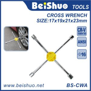 Steel Chrome Plated Cross Rim Wrench with 4 Sizes Socket