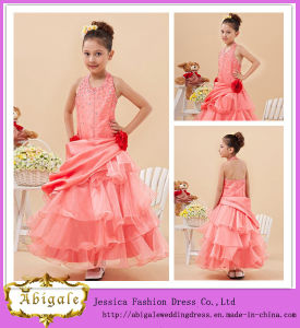 New Pink Organza Taffeta Halter Beaded Ruched Flower Dresses For Of 5 Years Old Yj0123