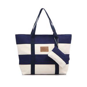 China Women Beach Canvas Bag Fashion Color Stripes Printing Handbags ... f279843185