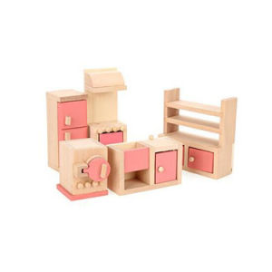 China Wooden Dollhouse Kitchen Furniture Set For Kids China