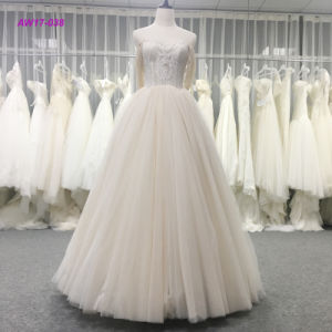China Modern Fashionable Strapless Lace Bodice Ball Gown Princess