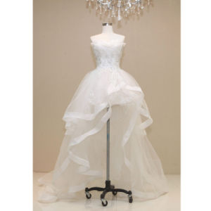 china new special neck design short front and long back wedding