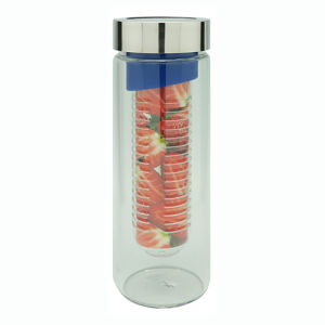 Single Wall Glass Fruit Bottle with Strainer