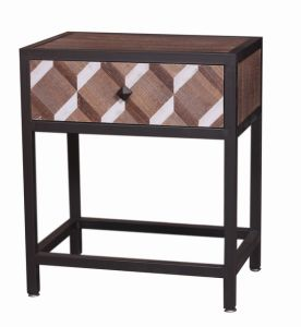 Industrial Wooden Furntiure with Metal Frame for Living Room Side Table