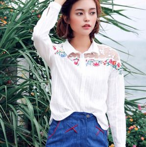Lady′s Embroidered Shirts, Fashion Colthing, Wts45804V