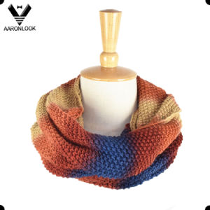 Women Winter Acrylic Knitted Ombre Infinity Scarf