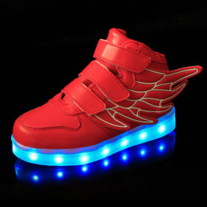 Fashion PU Leather USB LED Light Luminous Shoes with Charging Line