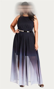 Polyester Plus Size Statement Ombre Maxi Dress pictures & photos