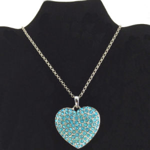 Large Light Blue Heart Pendant Necklace Jewelry (FN16040815)