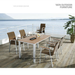 Competive Price Top Selling Outdoor Garden Aluminum+Composite-Wooden Furniture Dining Set by Chair&Table as 6-8person Seat (YT370) pictures & photos