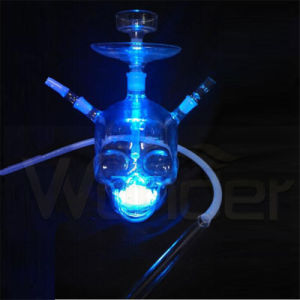 Crossbones Style Glass Hookahs with LED Light