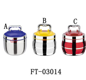 High Quality Stainless Steel Food Carrier with Plastic Lid (FT-03014)
