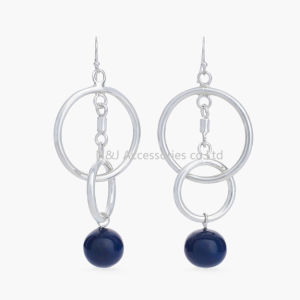 Fashion Silver Plated Alloy Drop Blue Beads Dangle Earrings for Women Jewelry