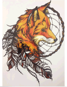 Big Fox with Dreamcatcher Temporary Tattoo Sticker Art Tattoo Sticker