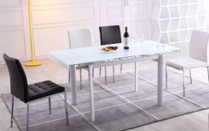 China Contemporary Tempered Glass Dining Table Functional Extendable