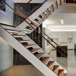 Glass Balustrades Staircase Indoor House Steel Staircase pictures & photos