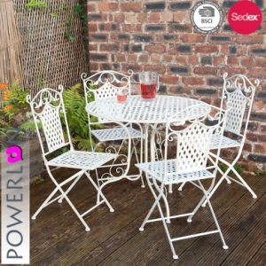 Hot Metal Folding Dining Bistro Set With 1 Table And 4 Chairs