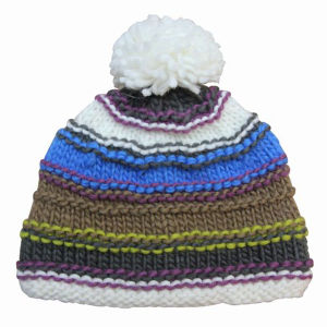 Lady Fashion Striped Wool Knitted Winter Warm Beanie Hat (YKY3108) pictures & photos