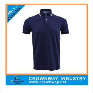 Men′s Coolmax Solid Golf Polo Shirt with Yarn Dye Stripes pictures & photos