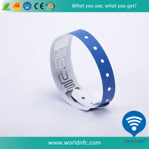 13.56 MHz Passive Disposable RFID Paper Wristband for Festival pictures & photos