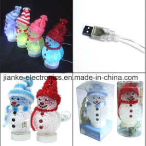 Promotional USB LED Lighting Snowman with Logo Printing (5004)