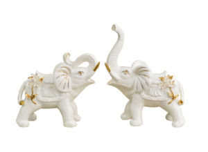 Amazing Craft Big Couple Ceramic Elephant Statue Home Decor Crafts Room Decoration