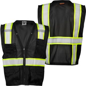 Safety Vest, Black with Lime Yellow and Silver Reflective, Direct Factory pictures & photos