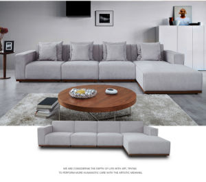 China Grey Soft Fabric L Shape Sofa With Coffee Table FS - Coffee table for l shaped sofa
