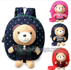 Promotion Cartoon Kids Children Baby Student Backpack Bag with Bear Dolls