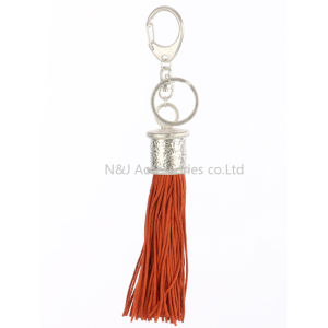 Fashion Casual Red PU Leather Tassels Women Keychain Bag Pendant Alloy Car Key Chain Ring Holder Retro Jewelry